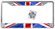 British Flag License Plate Frame Gift Polished Metal Union Jack England  TXT
