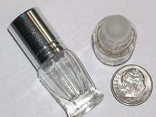 1 Glass oil vial small tube travel perfume roller on ball bullet bottle SILVER