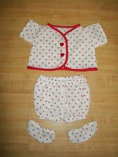 "14-15"" CPK Cabbage Patch Kids Preemie BBB top+pants VALENTINE HEART HEARTS"