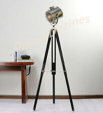 Classic Theatre Spot Light with Solid Wooden Tripod - Floor Lamp Vintage/Retro