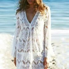 Women Bathing Suit Lace Crochet Long Sleeve Bikini Swimwear Cover Up Beach Dress