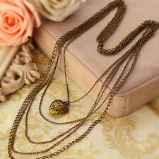 Fashion Jewelry Heart Pattern Retro Long Pendant Sweater Chain Necklace New