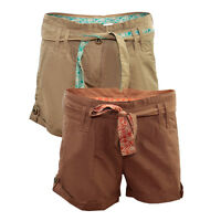 LADIES BROWN & KHAKI YESSICA C&A BELTED CASUAL SHORTS HOT PANTS, UK SIZES: 8-22