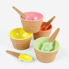 Personal Waffle Ice Cream Float Bowl Cups Dishes Spoons Set of 4