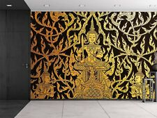 Black and Gold traditional Thai temple painting - Wall Mural - 66x96 inches