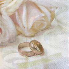 2 single paper napkins decoupage scrapbooking collection Wedding Rings Flowers