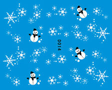 Christmas Xmas WHITE Snowman Snowflakes Snow Ice Nail Art Water Decals Transfers