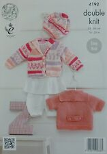 Knitting pattern BABY facile Knit Cardigan & Berretto DK KING COLE 4192