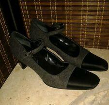 Prada genuine grey with black satin smart womens shoe sz 6/39