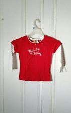 HARLEY DAVIDSON GIRLS GRAPHIC TEE LONG SLEEVE SIZE 10-12 RED AND WHITE NWT