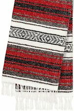 #11 Red Mexican Falsa Blanket Yoga Studio Mat Colorful Woven Serape Mexico Throw