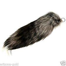 Silver Fox Tail PLUSH Fashion Handbag Accessory Genuine Fur FREE USA SHIPPING!