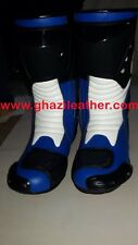 MEN MOTORBIKE / MOTORCYCLE LEATHER RACING BOOT BLUE HIGH TECH WITH ALL SIZES