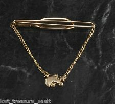 Vintage Tie Clip with CHain Signed Horse Head Mens Hickok USA Jewelry Accessory