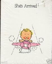 Baby Girl she's arrived birth announcements pink plane set of 12 with envelopes