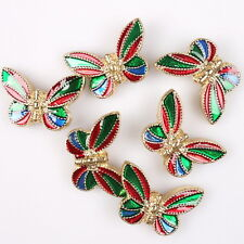 8x 112834 Fashion Enamel Butterfly Charms Alloy Spacer Beads Findings Fit DIY