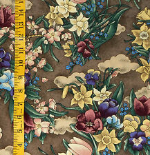 "FABRIC - KONA BAY ""BED N BREAKFAST"" SPRING FLOWERS 100% COTTON - 1.25 YARDS"
