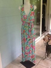 ISLAND REPUBLIC Maxi Dress Jersey Tropical Greens Resort Beach Small NWT$98