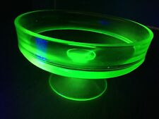 VINTAGE VASELINE URANIUM GLASS GREEN DEPRESSION RAISED BOWL W STEM