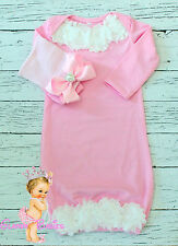 Newborn Baby Infant Girl Toddler Comfy big Bow Hospital hat Beanie + pink gown
