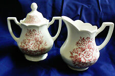 ROYAL STAFFORDSHIRE AVONDALE IRONSTONE J&G MEAKIN ENGLAND SUGAR & CREAMER PINK