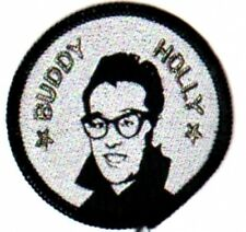 BUDDY HOLLY ROUND  SEW ON WOVEN  PATCH