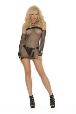 Elegant Moments Sexy Black fishnet Lingerie mini dress & gloves One Size S M L