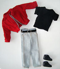 Barbie/ KEN CLOTHES Red Cordurot Jacket, Black Tee, Jeans, Shoes NEW!