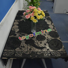 Gothic Black Lace bat spider web table cloth cover topper Halloween Decor