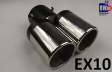 TWIN DUAL EXHAUST TRIM DOUBLE TIPS MUFFLER PIPE CHROME TAIL 60MM UK SELLER EX10