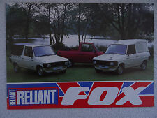 Reliant Fox BROCHURE 1984-86. Utilty. PICK-UP. Hardtop.