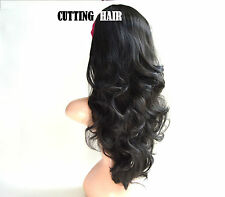 Darkest Brown close Black 3/4 Wig Layers Long Curly Half Wig Hairpiece 02-3