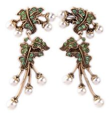 PERIDOT GREEN WHITE PEARL BEAD Designer Crystal Rhinestone Chandelier Earrings