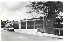 RPPC Fire Station in Runcorn United Kingdom Old Car Vintage Real Photo Postcard
