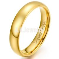5mm Mens Women Gold Wedding Band Tungsten Carbide High Polished Engagement Ring