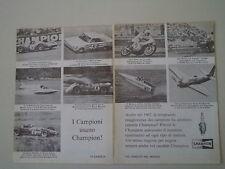 advertising Pubblicità 1968 CHAMPION e GARY NIXON/PLYMOUTH RICHARD PETTY/FERRARI