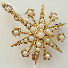 Antique Victorian Scottish 15ct Gold Pearl Starburst Pendant Necklace c1895