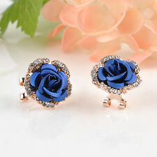 Fashion Women Lady Rose Flower Crystal Rhinestone Pierced Ear Stud Earrings Gift