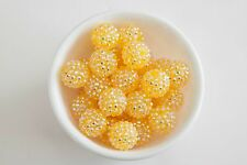 20mm Yellow Rhinestone Chunky Beads 10ct for Bubblegum Gum Ball Necklace