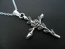 A LOVELY TIBETAN SILVER ROSE/FLOWER  CROSS NECKLACE. NEW.