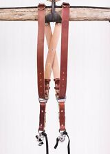 Large Chestnut Bridle Leather Hold Fast MoneyMaker Luxury Multi-Camera Strap