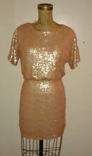 New NWT Totally Sequin Covered Blousey Top Dress Short Skirt Pink Bronze Sz Smal