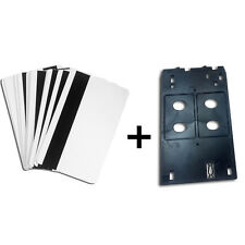 Inkjet PVC ID Card Tray Set - 10 Hico Magnetic Strip Card + 1 Tray for Canon J