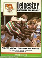 #LL.  LEICESTER TIGERS V NEW ZEALAND BARBARIANS  RUGBY UNION PROGRAM 18/3/1987