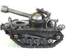 Hand Crafted Recycled Metal Tank  Art Sculpture Figurine