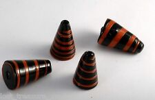 Vintage Handmade Glass Beads Volcano Set of 4 Jewelry Making Orange Black Swirl