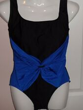 LONGITUDE LADIES SWIMSUIT , COMBINATION OF BLACK AND BLUE BOW,M