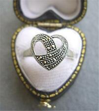 Beautiful Genuine Silver & Marcasite Open Heart Ring - Size N
