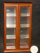 Tuscan Curio Cabinet #P6005 Walnut Display Figurine Plates Dollhouse Miniature