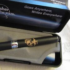 USMC MARINE BLACK  X-750/S  Fisher Space Pen- rubber grip with soft touch stylus